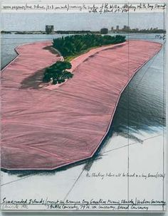 Christo Surrounded Islands (Project for Biscayne Bay, Greater Miami, Fla) Drawing 1983  Pencil, pastel, charcoal, wax crayon, enamel paint and aerial photographs
