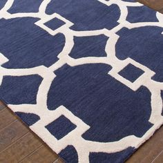 Contemporary Fretwork Plush Wool in Navy Blue as well as Charcoal Gray, Yellow, Turquoise, Taupe, or Denim Blue with cream fretwork lattice pattern.