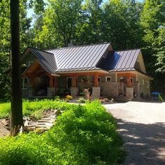 Metal roofing, steel roofing.  Visit… Classic Building, Steel Roofing, Roof Panels, Metal Roof, Canada, Php, Exterior, Cabin, Traditional