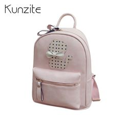 c5caa89528 KUNZITE 2017 Cute Lady Backpacks 2017 Women Pu Leather Student Backpacks Cat  Cotton Girls Backpacks Female