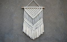 Macrame wall hanging Medium size wall decor Woven wall hanging Weaving fiber art Retro interior decor Handmade home decor Eco-friendly gift by CrochetedCosiness on Etsy https://www.etsy.com/listing/466865262/macrame-wall-hanging-medium-size-wall