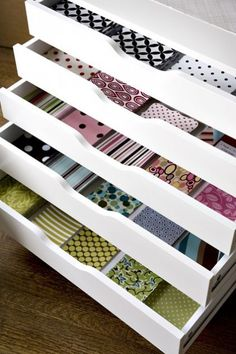 Several ideas for storing craft paper.