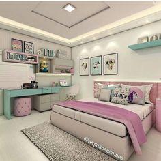 Cute Tween Bedroom Interior Design Ideas, Color Scheme plus Decor Teenage Girl Bedroom Designs, Teenage Girl Bedrooms, Modern Bedroom Design, Home Room Design, Interior Modern, Scandinavian Interior, Interior Design, Girls Bedroom Ideas Teenagers, Contemporary Bedroom