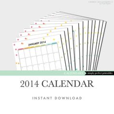 2014 Calendar Planner Printable Kit - PDF Files - Letter Size - Instant Download Planner Pages, Printable Planner, Diy Planner, Printables, Filofax, Custom Planner, Home Management Binder, Diy Calendar, Binder Organization