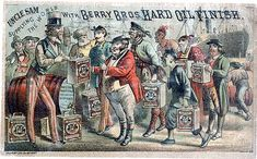 Uncle Sam Supplying the World with Berry Brothers Hard Oil Finish, c. 1880. This cheaply produced chromolithographic advertisement employs a technique called stippling, with heavy reliance on the initial black line print.
