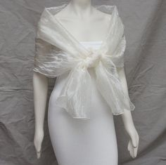 Luxe Ivory Textured Organza Bridal Shawl Bridal Stole by boubo, $44.00 | See more about organza bridal, shawl and ivory.
