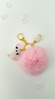 Fur ball, Fur balls, Red fur ball, Fur ball key chain, Accessories, Pink fur, Fur ball accessories, Fur ball key fob, Charms, Fur ball charm by PoshPiecesbyMelissa on Etsy