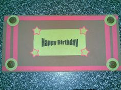 Birthday card happy birthday pink brown green button and stars
