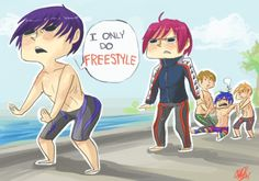 "Haru - free! Iwatobi Swim club (OMFG Rin looks like he's about to go ""haru...I'm nearly done with your free SHIT"")"