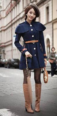 Cute Japanese Street Fashion I would for sure want to get a coat like this for fall/winter Japanese Street Fashion, Tokyo Fashion, Korean Fashion, Cute Fashion, Girl Fashion, Style Fashion, Bjd, Military Looks, Cute Coats