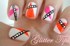 Neon 80s Nails - Nail Art - Glitter Tips