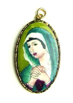 Antique Vintage Religious Pendant Medal Virgin Mary Our Lady Porcelain Enamel Christian Jewelry, Our Lady, Pocket Watch, Vintage, Best Deals, Accessories, Ebay, Collection, Pocket Watches