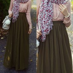 Floral hijab and neutral tone Arab Fashion, Islamic Fashion, Muslim Fashion, Modest Fashion, Girl Fashion, Fashion Outfits, Dress Fashion, Casual Hijab Outfit, Hijab Chic