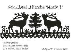 Stickdatei Scherenschnitt: Hirsche, Motiv 1