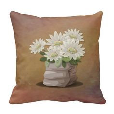 Beautiful white flowers on brown grunge, textured-look pillow.  http://www.zazzle.com/littlethingsdesigns?rf=238200194340614103