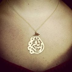 Name necklace. Arabic calligraphy custom design. Hand pierced. Gold plated.