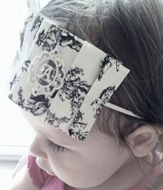 Classic French Toile Ivory and Black with Personalized Initial Venise Lace Center Little Girl Headband