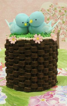 2 lovebirds! Fancy Cakes, Mini Cakes, Cupcake Cakes, Cupcakes, Brownie Cake, Brownies, Beautiful Cakes, Amazing Cakes, Spring Cake