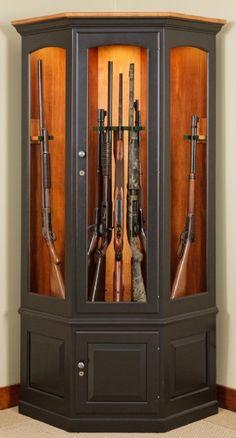 Gun Collector Display Cabinet Wall Mount Rack Wood Case