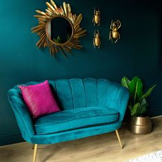 This Teal Velvet Scalloped Cocktail Sofa brings Hollywood style to your home. Ideal for smaller spaces, this curvaceous cocktail sofa is a must. Teal Rooms, Teal Living Rooms, Living Room Sofa, Living Room Designs, Living Room Decor, Bedroom Decor, Teal Room Decor, Teal Walls, Decorating Bedrooms