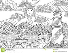 Seascape Line Art Design For Coloring Book For Adult, Anti Stress Coloring - Stock  - Download From Over 42 Million High Quality Stock Photos, Images, Vectors. Sign up for FREE today. Image: 68126456