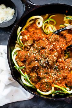 4 Ingredient Creamy Vodka Steak Pasta recipe - steak bites seared in browned butter in a vodka sauce over zucchini noodles. SO EASY and super good! 400 calories. | pinchofyum.com