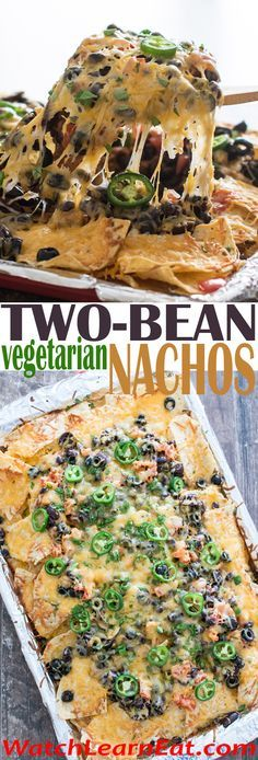 These Two-Bean Vegetarian Nachos are so hearty, you can serve them as a party appetizer or enjoy them as a main course.