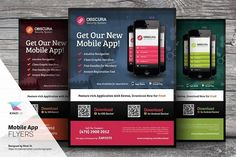 Mobile App Flyer Templates by kinzi21 on @creativemarket