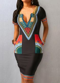 Pocket Split Neck Short Sleeve Dress - Trend Way Dress African Fashion Designers, Latest African Fashion Dresses, African Print Dresses, African Print Fashion, African Dress, African Attire, African Wear, Moda Afro, Fashion Outfits
