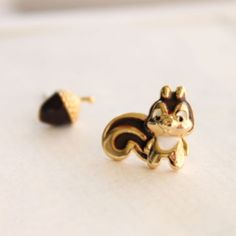 squirrel u0026 acorn earring set