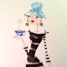 5 o'clock coffee break...it's gonna be a long night. #coffee #deadline #illustration