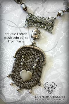 Gorgeous necklace with an antique sterling mesh coin purse as pendant. I have a mesh purse somewhere.in a box.go figure. Jewelry Art, Antique Jewelry, Jewelry Crafts, Vintage Jewelry, Jewelry Design, Jewellery, Shabby, Found Object Jewelry, Recycled Jewelry