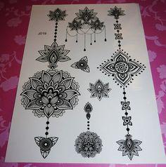 Bohemian Gypsy Black Henna Festival Lotus by Agirlnamedglitter