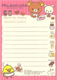Rilakkuma Memo Pad bears with chocolate and pastry 4 Rilakkuma, Cute Stationery, Stationary, Planner Doodles, Memo Notepad, Note Memo, Cute Letters, Printable Scrapbook Paper, Card Captor