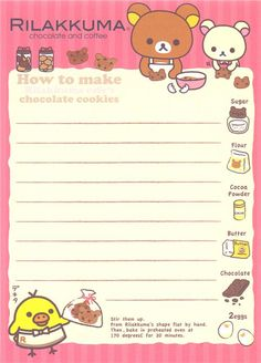 Rilakkuma Memo Pad bears with chocolate and pastry 4