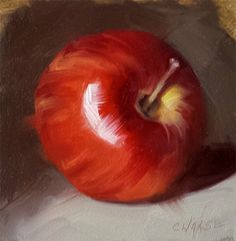 Small Original Oil Painting Apple 4 x 4 by CynthiaHaaseFineArt, $40.00