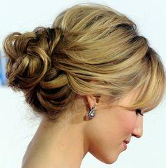 Wedding 'do?? side part bangs loose low bun