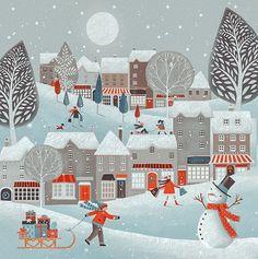 Vintage Christmas Cards, Xmas Cards, Christmas Art, Winter Christmas, Winter Illustration, Christmas Illustration, Illustration Art, Leave Art, Winter Art
