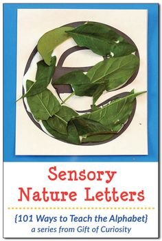 Make sensory nature letters using natural elements to help children learn their letters. What a great way to teach the alphabet! || Gift of Curiosity