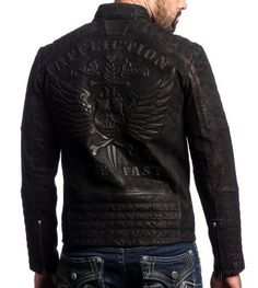 Affliction - MIDNIGHT HOUR - Men s Leather Biker Jacket MOTO - Black Wash  Great Mens Fashion f3652fa080