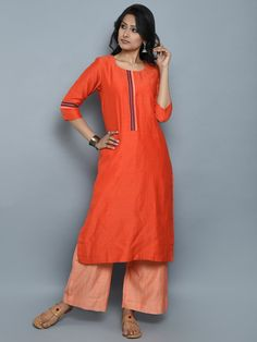 Orange Chanderi Cotton Straight Kurta