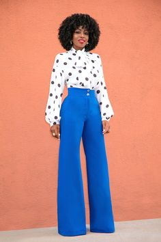 Style Pantry | Polka Dot Tie Front Blouse + High Waist Wide Legs