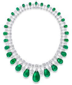 Graff Cabochon Emerald and Diamond Necklace