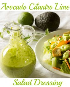 Avocado Cilantro Lime Salad Dressing - An easy dressing recipe made in the blender. (Whole 30 Recipes Avocado) Easy Dressing Recipe, Salad Dressing Recipes, Homemade Dressing, Daniel Fast Salad Dressing Recipe, Vegetarian Recipes, Cooking Recipes, Healthy Recipes, Cooking Kale, Healthy Salads