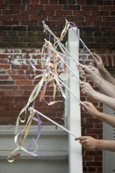 Ribbon wands would be a colorful and fun alternative to bubbles/rice throwing at bride/groom as they depart! Wedding Blog, Wedding Favors, Wedding Reception, Rustic Wedding, Dream Wedding, Wedding Decorations, Wedding Day, Wedding Wands, Party Favors
