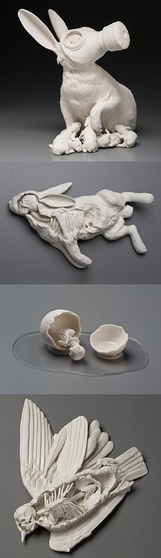 """Beautiful and thought-provoking porcelain sculptures by Kate MacDowell. """"These pieces are in part responses to environmental stressors including climate change, toxic pollution, and gm crops. They also borrow from myth, art history, figures of speech and other cultural touchstones. In some pieces aspects of the human figure stand-in for ourselves and act out sometimes harrowing, sometimes humorous transformations which illustrate our current relationship with the natural world."""""""