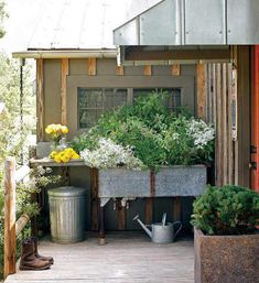 We have an old ugly metal sink just like this in our backyard that we were wanting to do this exact thing to! Outdoor Spaces, Outdoor Living, Outdoor Decor, Outdoor Ideas, Backyard Ideas, Porches, Garden Sink, Herb Garden, Garden Sheds