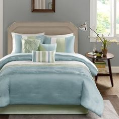 Madison Park Amherst Queen Size Bed Comforter Set Bed in A Bag Green Aqua White Pieced Stripes 7 Pieces Bedding Sets Ultra Soft Microfiber Bedroom Comforters -- Find out more about the great product at the image link. (This is an affiliate link) Duvet Covers, Duvet Cover Sets, Home, Comforter Sets, Bedding Sets, Furniture, Contemporary Bed, King Comforter Sets, Bedding Stores