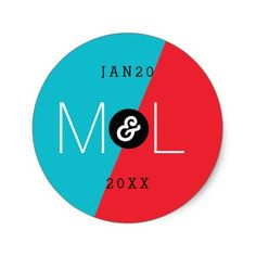 Dynamic Duo Modern Wedding Monogram Sticker