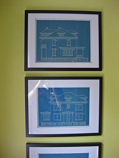 Framed blueprints
